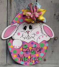 Easter basket door hanger easter door by Angelascreativecraft Preschool Crafts, Easter Crafts, Holiday Crafts, Easter Ideas, Wood Yard Art, Easter Paintings, Easter Wishes, Diy Ostern, Christmas Wood