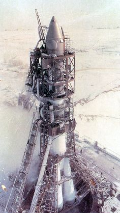 Voskhod 2 sits on the launchpad at the Baikonur Cosmodrome. Alexey Leonov became the first human to perform a spacewalk (EVA) during this mission.