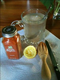 """start your day w/hot water, juice from 1/2 organic lemon, 2 shakes of organic cayenne pepper, sip till gone.  Lemon cayenne water is a great way to cleanse your body regularly even when you're not """"on a cleanse.""""   www.vegoutwithlinda.com - discover the power of food"""