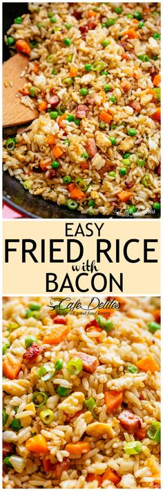 Fried Rice withcrispy bacon and fluffy eggs is better than take out and so easy to make! Why go out when you can have the best fried rice right at home! Just like Chinese take out fried rice. Perfect for when you have leftover rice OR make it quick from scratch with a few tricks!