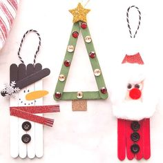 christmas kids POPSICLE STICK CHRISTMAS ORNAMENTS - these are so cute and fun to make! Make a snowman, Santa or Christmas tree. Perfect for kids to help make and then you can hang them on the tree as ornaments! Easy Christmas craft for kids. Popsicle Stick Christmas Crafts, Easy Christmas Crafts, Christmas Activities, Diy Christmas Ornaments, Craft Stick Crafts, Fun Crafts, Christmas Gifts, Popsicle Sticks, Ornaments Ideas