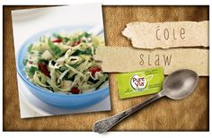 Traditional oil and vinegar style cole slaw with the addition of red and green peppers, and onion. It uses packaged shredded cabbage to make the preparation easy.