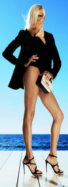 Hot sexy look long tanned shapely legs with black blazer!! Love it!!