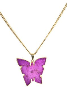 You are my butterfly - vergoldeter Schmetterling mit pinker Kristalldru | Crystal and Sage Jewelry