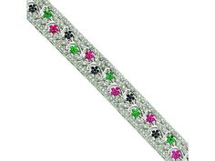 Sterling Silver Sapphire, Ruby, Emerald and Cubic Zirconia Bracelet