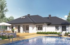 Project of a one-storey house with a garage. Modern Bungalow House Plans, Bungalow Floor Plans, Modern Family House, One Storey House, House Plans Mansion, House Design Pictures, Design Case, Big Houses, Future House