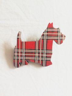 Scotty Dog Wooden Brooch by MaisyandAlice on Etsy, $15.00