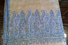 pure pashmina  hand embroidered  big boarder  ( palla)  shawl  from kashmir