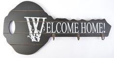 "Black Vintage Wood Key Holder ""Welcome Home!"" Key Shape Wall Decorate My-3232 #Mystica"