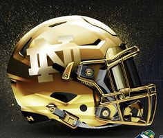 Notre Dame& classic gold helmet is one of the most recognizable lids in college football. Still, that hasn& stopped multiple alternate Notre Dame concept helmets from popping up recently. Notre Dame Football, Nd Football, College Football Uniforms, Collage Football, Football Is Life, Football Memes, School Football, Indiana Football, Football Jerseys