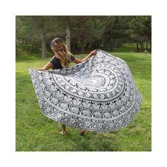 Mandala Floral Elephant Black White Roundie Beach Throw Bedspread – TheNanoDesigns