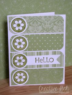Creative Itch: 'Hello' & 'Thank You' Cards.- but adaptable for almost any sentiment Cricut Cards, Stampin Up Cards, Tarjetas Diy, Card Sketches, Cool Cards, Easy Cards, Flower Cards, Flower Stamp, Paper Cards