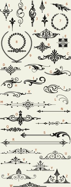 Letterhead Fonts / LHF Americana Ornaments / Golden Era Studios If I ever get a sternum tattoo, some of these would be awesome