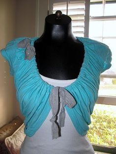 Shrug made from a old tee shirt.