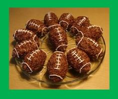 football rice Krispy treats - great recipe for a football party dessert!    Find football gifts made in the USA at http://www.craftyshops.com/html/craft_site_list/sports/football_gifts_for_for_sale_made_in_usa.html too.