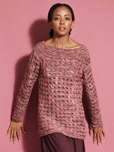 Knit this long sleeved sweater, with a slash neck and a beautiful wrap stitch pattern, a must have for this season.