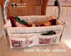 dulces pilukas: Reciclar Cesta. Organizador costura con aplicaciones.