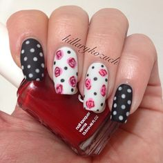 Valentine's day nails, Colors used were OPI Black Onyx and MBSW, CG Dance Baby, Essie Forever Yummy, and Hard Candy matte topcoat.  @hillarykozuch