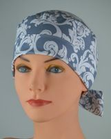 Surgical Scrub Hat Chemo Cap- The Mini with FABRIC TIES- Gray Damask