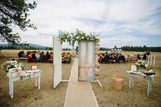 Tucked away in the mountains of Montana is a rustic wedding gone glam. Habitat Events brought the church setting outdoors, and along with Montana Party Rentals designed an al fresco reception that'll rock your world. With moments of glitz (hello, pretty gold cake!) woven in