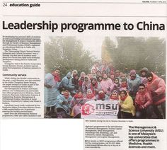 MSU's Faculty of Business Management and Professional Studies has recently organised an educational field trip to Guilin and Yangshao, China.  The Star, 7 April 2016