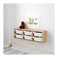 TROFAST Wall storage, pine light white stained pine, white light white stained pine/white 36 5/8x8 1/4x11 3/4