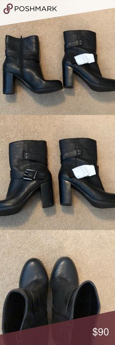 NWOT black Nine West booties NWOT (one shoe still has the paper on the buckle) black boots. Short. 3.5 inch square. heel side zipper. Silver belted accents. Great under jeans or with skinny jeans.  Leather Nine West Shoes Ankle Boots & Booties