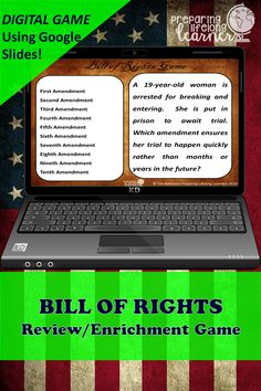 Your middle school social studies students will learn or review the Bill of Rights with this fun digital game that uses Google Slides.  Perfect for in class or at home enrichment or review! Social Studies Games, Fifth Amendment, Digital Review, Enrichment Activities, Bill Of Rights, Middle School Teachers, Review Games, American Revolution, Distance