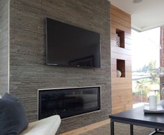 Living Room - Stacked Stone Fireplace - Wood Shelf Detail - NOELLE INTERIORS - Manhattan Beach, CA