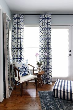 One Room Challenge Master Bedroom Makeover by Hunted Interior // Blue Bedroom // Shibori Drapery Panels