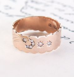 The prettiest ring that ever was! Scalloped-Edge Victorian Rose Gold Band with Diamond Moon and Stars
