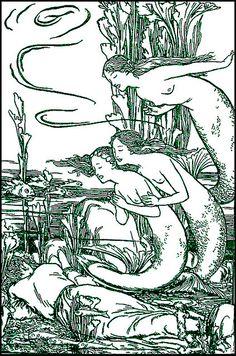 Vintage Mermaid Illustration--3 Mermaids Find a Man
