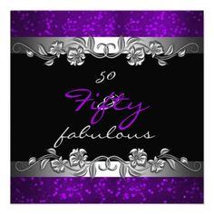 Nanas scrap spot 50th birthday wreath birthday party ideas purple 50 fabulous 50th birthday party personalized announcement invitations birthday invitations by zizzago filmwisefo