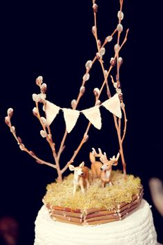 deer cake topper + pussy willow