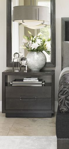 Grey nightstand. Bedroom decor ideas. Luxury furniture. Interior design ideas. home decor ideas. Interior design. For more inspirational ideas take a look at: www.bocadolobo.com