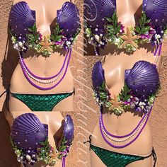 510491ccbd24a Ariel Inspired Mermaid Plunge Bra Rave Bra EDC by mayrafabuleux. Mermaid TopThe  Little ...