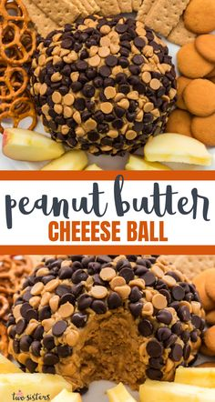 This Peanut Butter Cheese Ball is chock full of Peanut Butter and Cream Cheese and covered with Peanut Butter and Chocolate Chips. The perfect dip for so many things and always a hit at a party. Pin this sweet party food for later and follow us for more party food ideas.