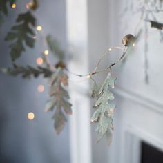 Holiday decorations, simple rustic garland with leaves dipped in gold and LED lights, whimsical cute Christmas garland decoration Noel Christmas, Christmas Balls, All Things Christmas, White Christmas, Vintage Christmas, Christmas Crafts, Christmas Decorations, Christmas Garlands, Hygge Christmas
