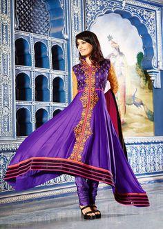 USD 82.79 Surbhi jyoti Purple Resham Work Anarkali Suit  35156