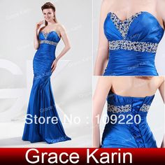 475f6aeb34c31 Free Shipping Grace Karin Full length Strapless Royal Blue Taffeta Prom  Party Ball Gown Evening Dress 8 Size US 2~16 CL4467 $62.99