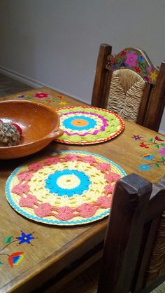 Placemats my mom made to match my Mexican kitchen