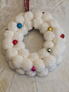 Excited to share the latest addition to my #etsy shop: Christmas Pom Pom Wreath #homedecor #christmas #winterwreath
