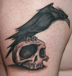 raven and skull tattoo