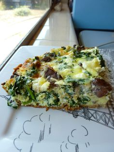 Paleo Quiche w/ kale, mushroom, goat cheese, and almond flour crust.