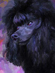opawz.com Black Poodle Painting  - Black Poodle Fine Art Print