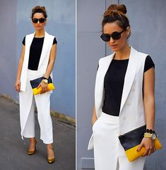 White Vest Outfit, Long Vest Outfit, Blazer Outfits, Chic Outfits, Fashion Outfits, Formal Chic, Casual Chic, Summer Work Outfits, Office Outfits