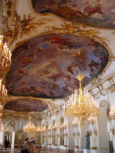 Grand Hall, Schonbrunn Palace, the former imperial residence in Vienna, Austria