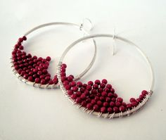 wire wrapped sterling silver hoop earrings red coral beads by katerinaki1977 on Etsy https://www.etsy.com/listing/102794347/wire-wrapped-sterling-silver-hoop