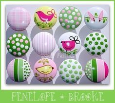 Hand Painted Knob Dresser Drawer or Nail Cover Penelope Birds Stripes Polka Dots. $6.00, via Etsy.