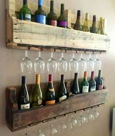 """fab D.I.Y. inspiration + just in time for the holidays!..""""Reclaimed pallet wood sanded down into a nice wine and glass holder..."""